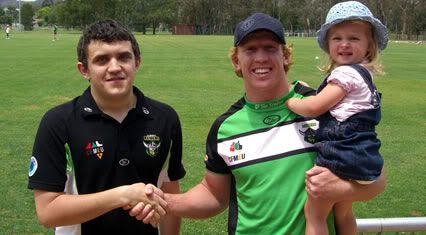 The 2007 Canberra Raiders Fans' Choice Award went to Alan Tongue for the second year in a row.  He's pictured here being congratulated on winning the award.  The award is voted on by the readers of The Greenhouse each week on a 3-2-1 basis.