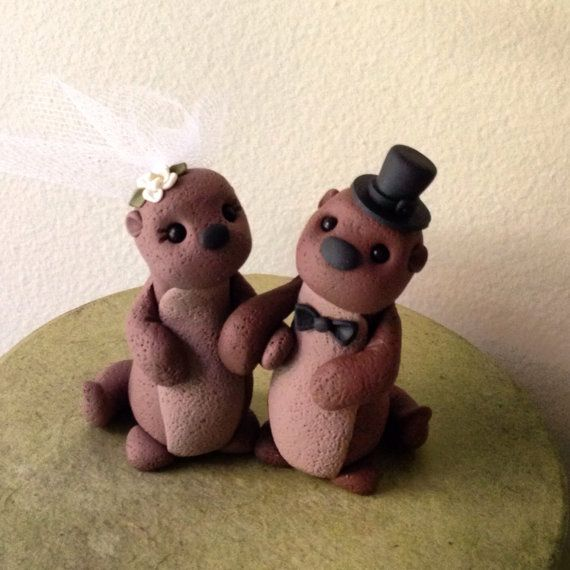 Sea Otters custom wedding cake topper by theaircastle on Etsy