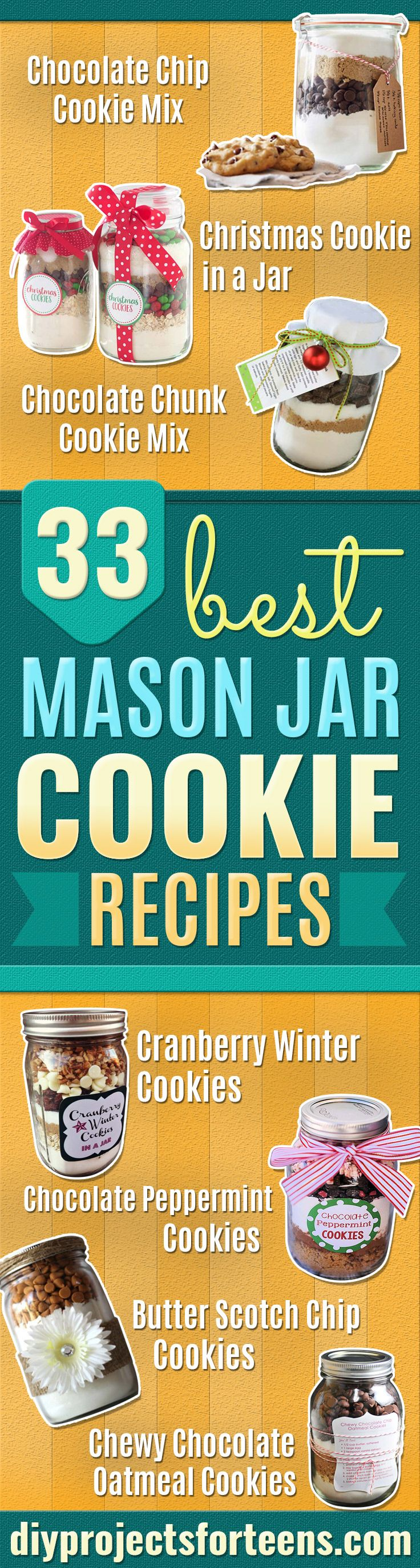 Best Mason Jar Cookies - Mason Jar Cookie Recipe Mix for Cute Decorated DIY Gifts - Easy Chocolate Chip Recipes, Christmas Presents and Wedding Favors in Mason Jars - Fun Ideas for DIY Parties, Easy Recipes for Teens, Teenagers, Kids and Teens - Cheap Last Mintue Gift Ideas for Friends, Family and Neighbors http://diyprojectsforteens.com/mason-jar-cookie-recipes