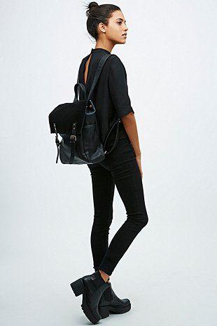 Deena & Ozzy - Sac à dos à empiècements daim noir - Urban Outfitters