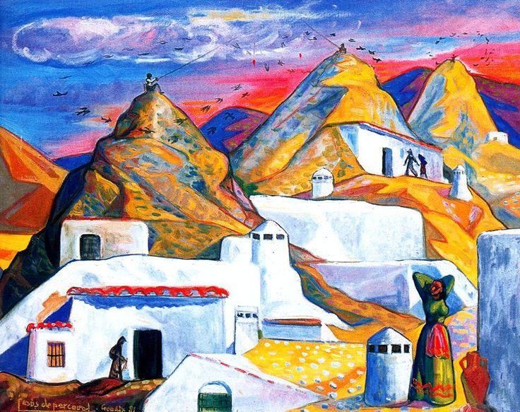 Pescadores de pájaros en Guadix. 1981. Óleo. 84 x 65 cm. Colección Trina de la Cámara Montilla. Obra de Jesús de Perceval