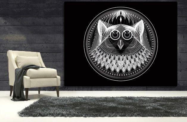 SOWA czarno biała koło ETNO ABSTRAKCJA 70x100 - ARTT - Wydruki na płótnie