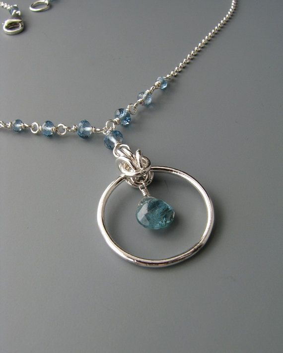 Byzantine Drop Chainmail Pendant / Necklace with Blue Tourmaline and Topaz