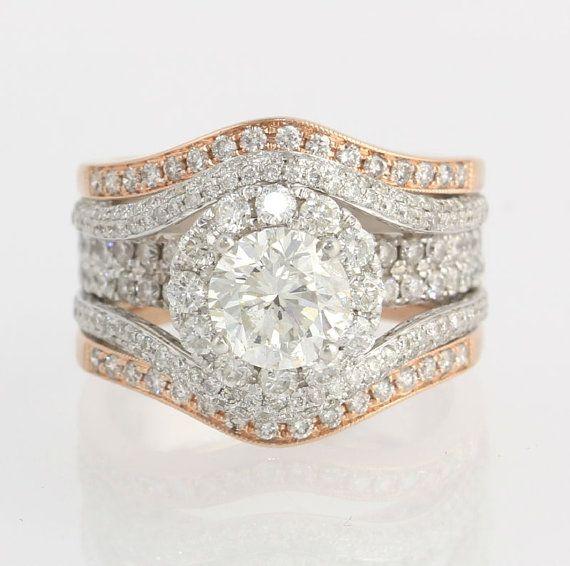 Diamond Wedding Set 1.50ct EGL Diamond Engagement Ring - 14k White Rose Gold 2.33ctw Accents on Etsy, $5,999.99