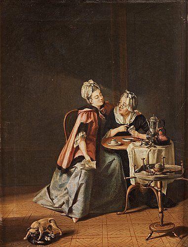 Interiör med ung dam och gumma som spår i kaffesump.  Utförd ca 1775. Duk 38,5 x 30 cm.