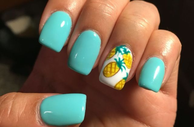 Summer Nails Teal Acrylics With Pineapples Nail Ideas Cute Turquoise Acrylic Designs N Pretty Nail Designs Acrylics Pretty Nail Designs Pretty Nails Glitter