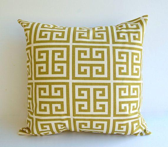 Una copertura decorativa throw pillow per dimensione 20 x 20 inerti in chiave greca verde e naturale del villaggio stampare sul RINGROSSO di