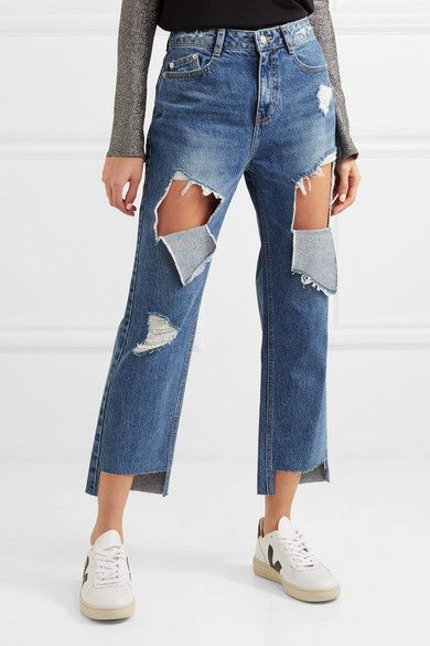 14c0ec83f5 SJYP - Distressed High-rise Straight-leg Jeans - Mid denim ... SJYP -  Distressed. Lecture dun message - mail Orange ...