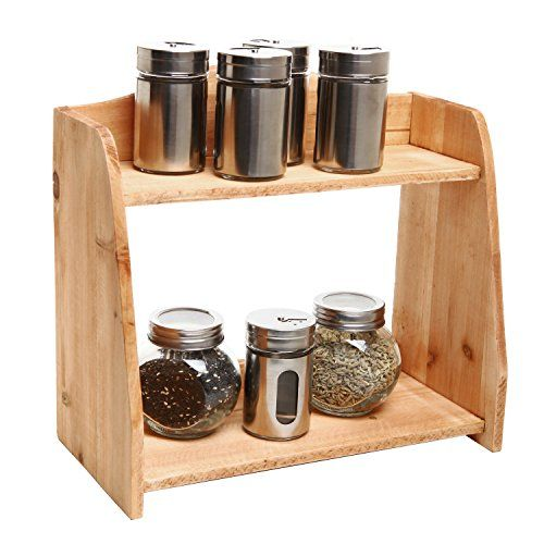 Country Farm Style 2 Tier Wooden Spice Rack / Free Standing Home Storage Organizer Shelves - MyGift