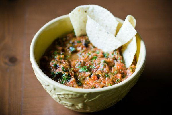 Grilled and Smoked Salsa with Roasted Poblano and Red Peppers