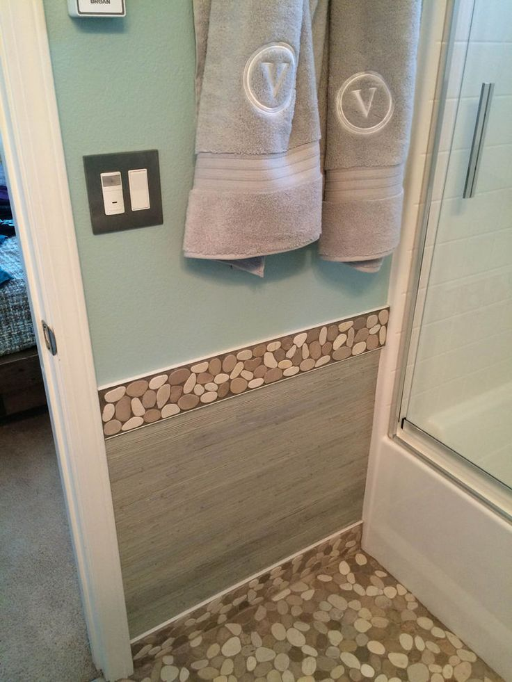 Large Sliced Java Tan And White Bathroom Border. Find This Pin And More On  Wall Tile Ideas   Pebble And Stone ... Part 56