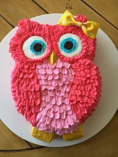 Red Pink Owl Baby Shower Cake