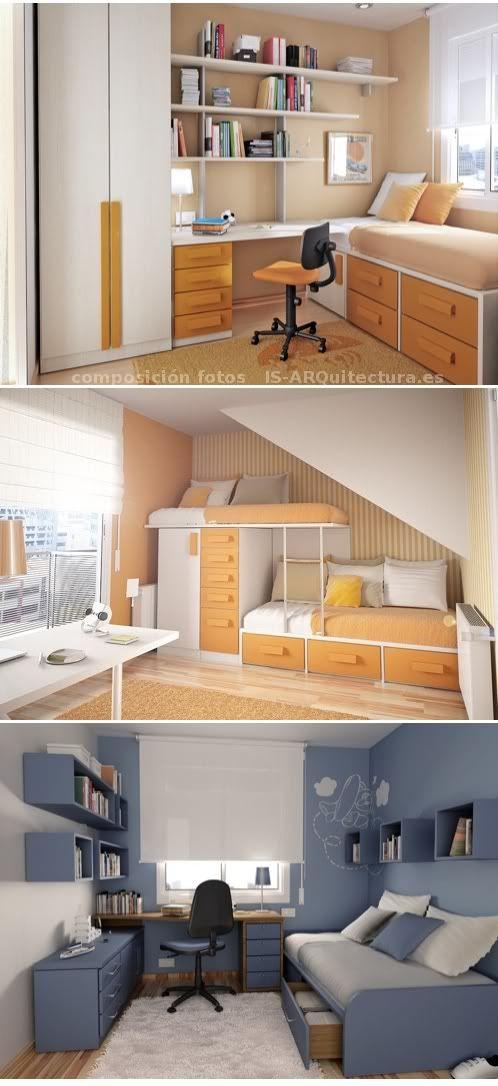 Artículo con diferentes imágenes de cómo poder amueblar una habitación pequeña para adolescentes. Formas de distribuir estanterías, cama, escritorio y armarios.