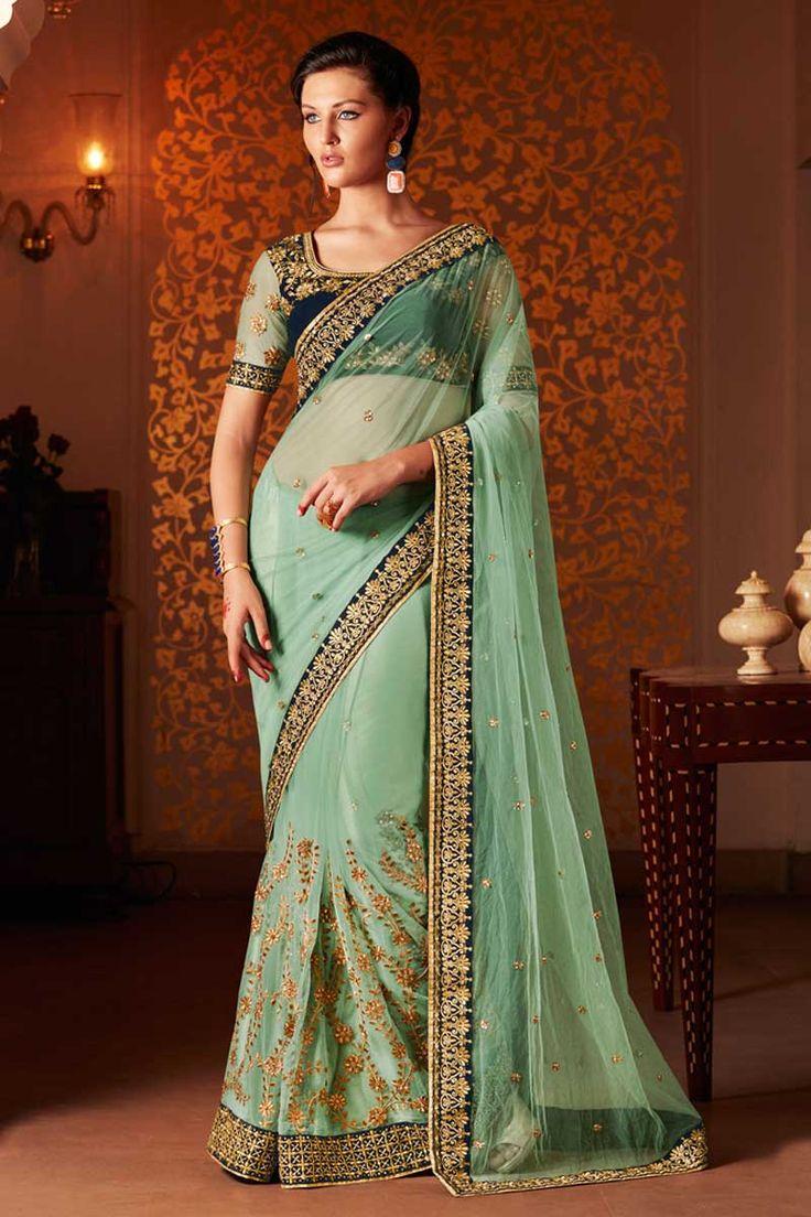 Green #Net #Saree With #Velvet Blouse  http://www.andaazfashion.fr/womens/sarees/green-net-saree-with-velvet-blouse-dmv8445-23818.html