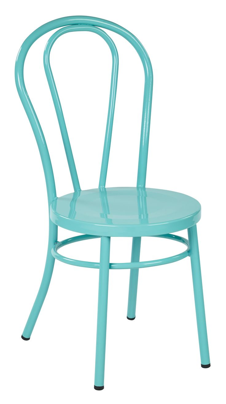 Yellow frame vintage sheet metal french cafe and bistro armless chairs - Office Star Pastel Teal Odessa Metal Dining Chair Set Of 2