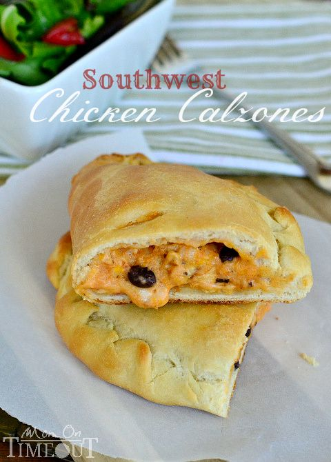 #ad Southwest Chicken Calzones are a delicious and easy dinner any night of the week! | MomOnTimeout.com #ClipForSchool