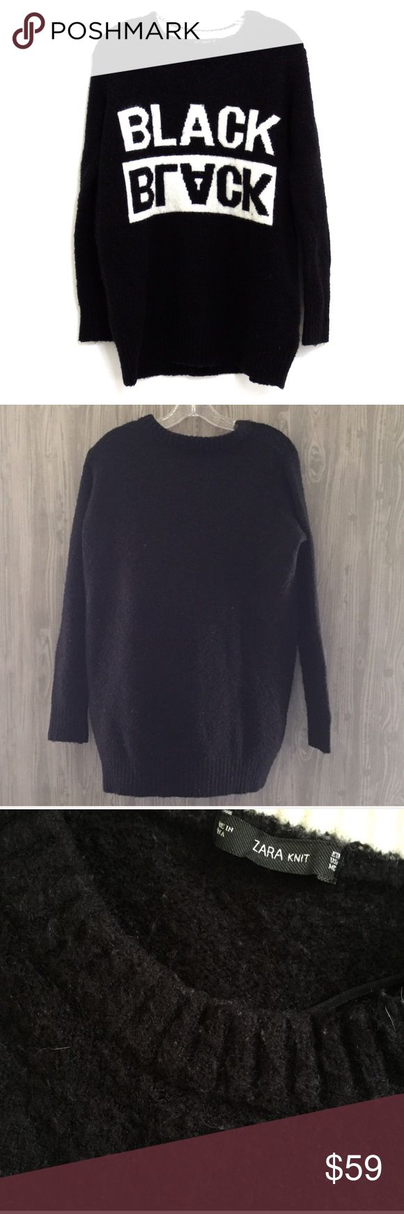 "Zara Black Graphic Mohair Sweater Top Medium Very rare and extremely hard to find (Limited Edition) Features soft mohair, oversized and comfortable fit. Round neck, long sleeved. (Please note: The inside tag with material and care has been removed; minor pilling) Really great condition! Length 29"" / Sleeve 19"" / Chest 20"" (First pic is a stock to show fit) Zara Sweaters Crew & Scoop Necks"