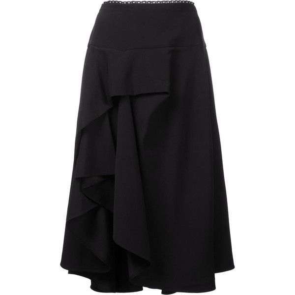 Preen By Thornton Bregazzi 'Ione' ruffled asymmetric skirt (3.955 BRL) ❤ liked on Polyvore featuring skirts, black, frill skirt, flounce skirt, frilly skirts, asymmetrical skirt and preen skirt