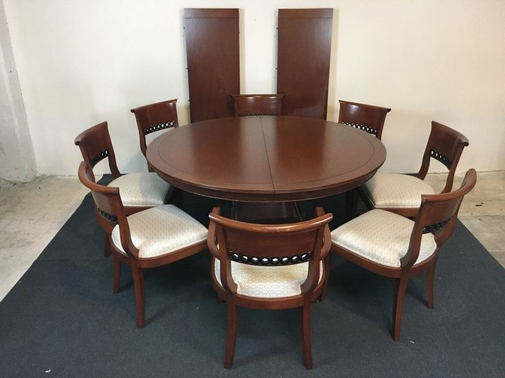 Contemporary Carved Mahogany Pedestal Table Dining Suite with Eight Chairs