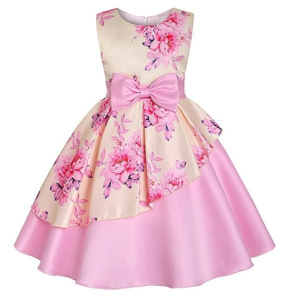 Girls Floral Cotton Summer Dress New Kids Party Sleeveless Dresses 2-10 Years