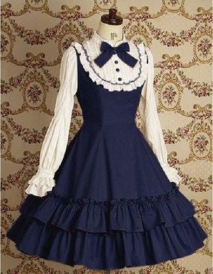 J503 Women Long Sleeves Gothic Lolita Shirt Dress Bow School Blue Red Retro New | eBay
