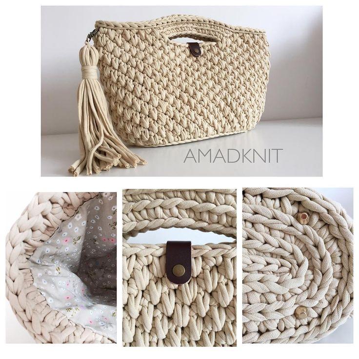 связанная крючком сумочка из трикотажной пряжи