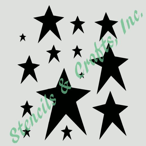 PRIMITIVE STARS STENCIL assorted celestial star stencils template templates background pattern craft paint scrapbook new by StencilsAndCraftsInc