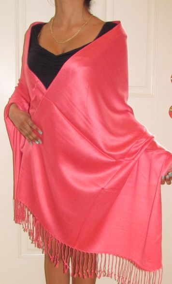 Coral Evening Prom Bridesmaids Shawl Wrap $24.99 silk pashmina evening woman's shawl with a elegant sheen and drape. Available in many colors for bridesmaids dresses/gifts.