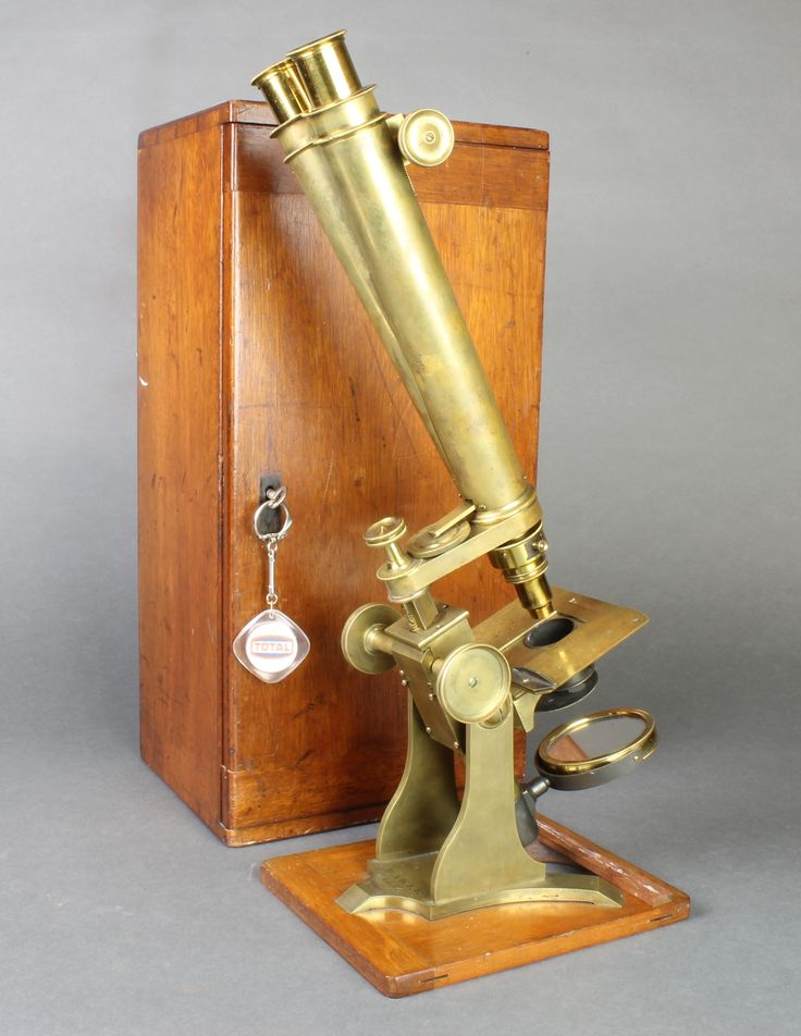 Lot 226, Barker of 244 High Holborn, a 19th Century brass binocular microscope, complete with mahogany carrying case, sold for £200