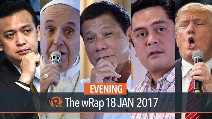 Duterte, Trillanes, Trump   Evening wRap - WATCH VIDEO HERE -> http://dutertenewstoday.com/duterte-trillanes-trump-evening-wrap/   Today on Rappler: – Duterte to meet governors to discuss 'final' drug list – Duterte writes thank you letter to Pope Francis – Trillanes wants probe on trolls, fake news – Malacanang Press Corps slams Andanar – Trump: I don't like tweeting Full...