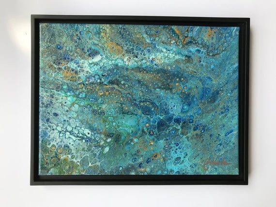 Original Abstract Acrylic Fluid Pour Shimmering Waters Painting 12 X 16 Abstract Acrylic Water Painting Abstract