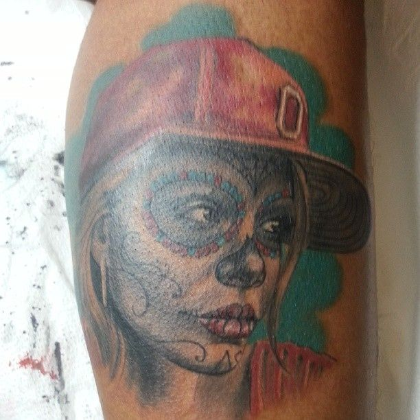 """The """"Day of the Dead"""" Ohio State tattoo."""
