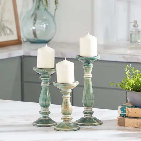 3 Piece Solid Wood Tabletop Candlestick Set In 2021 Candlesticks Vintage Inspired Interiors Wood Candles