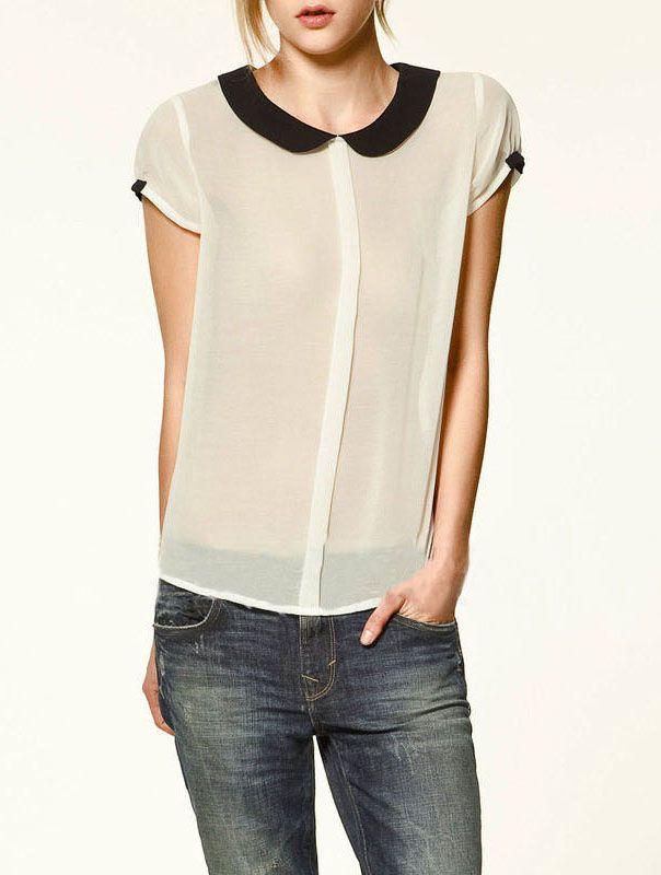 Black Collar Transparent Chiffon ShirtSummer Shirts, Chiffon Blouses, Fashion, Style, Clothing, Peter Pan Collars, Peterpan, Chiffon Shirts, Black Collars