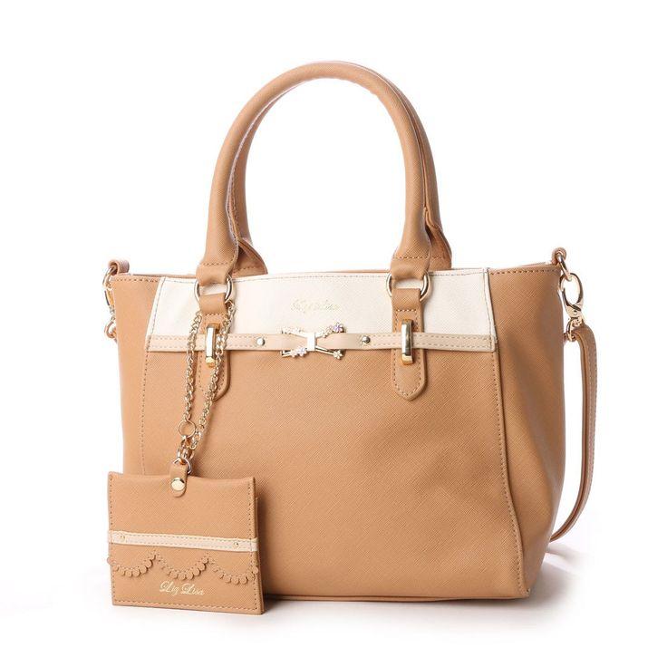 リズリサ LIZ LISA ティー お花リボンブローチ付バイカラー2WAYミニトートバッグ (ブラウン) -靴とファッションの通販サイト ロコンド