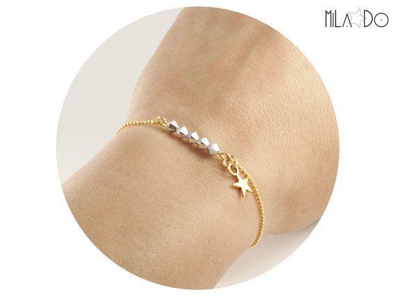 Bracelet Eléa  Perles Cristal Swarovski Argent et Etoile par MiLaDo, €14.00