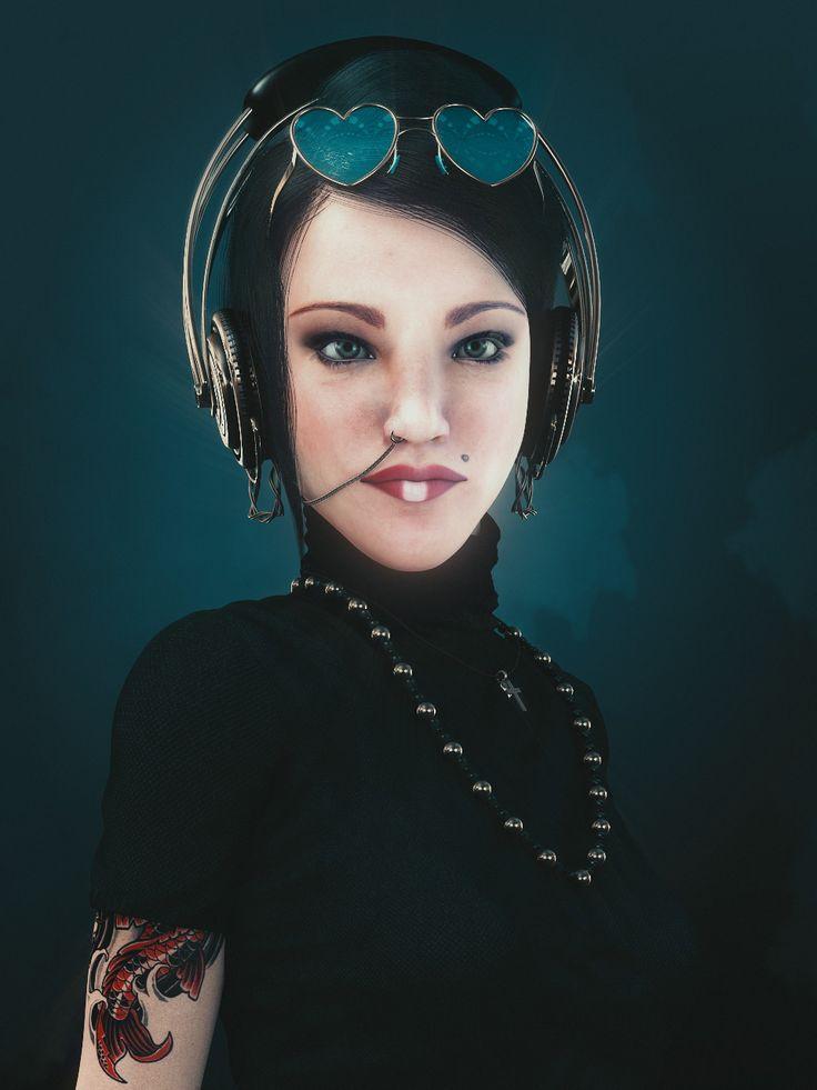 Portrait Of A Goth Girl, zoltan miklosi on ArtStation at https://www.artstation.com/artwork/rYPga