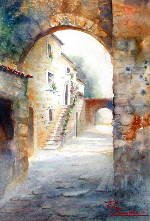 Love the pathway leading to next arch. Excellent watercolor composition and painting.
