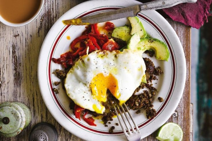 Refried lentils with capsicum salsa and fried eggs? This recipe's the perfect all-day breakfast option.