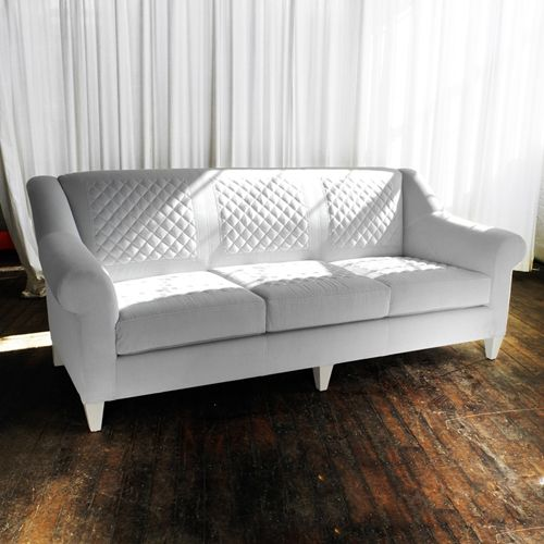 Sofa No. Quilted Dove Grey Velour With Contrasting Red Stitch. Features  Hand Applied Revere Pewter On Oak Exposed Maple Legs. Dimensions X X Arm  Height 25 ...