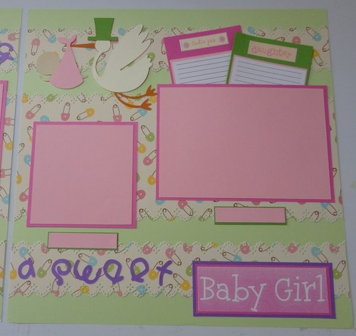 Pregnancy Stork Baby Girl Scrapbook Pages (2)