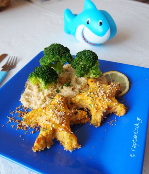 Salmon Patties shaped like starfish and an island made of hummus!