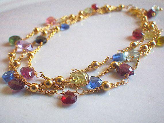 3 strand Tourmaline gold filled bracelet by LisaCreazioni on Etsy
