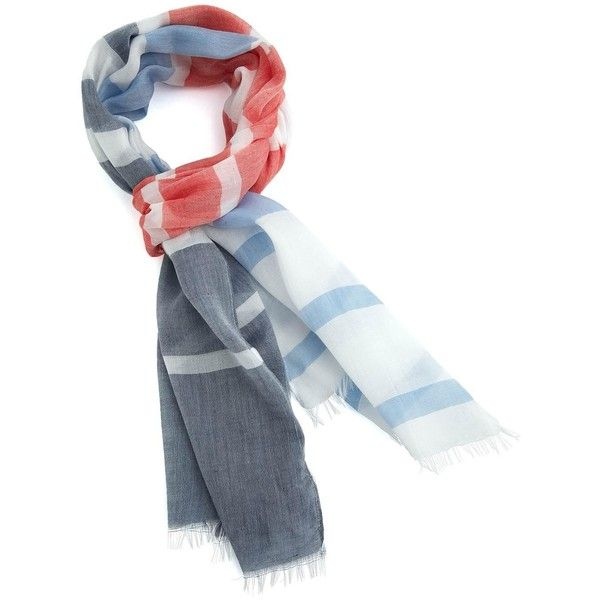 Striped Mesh Oblong Scarf Scarves featuring polyvore fashion accessories scarves stripes grey grey scarves oblong scarves striped scarves long shawl gray scarves