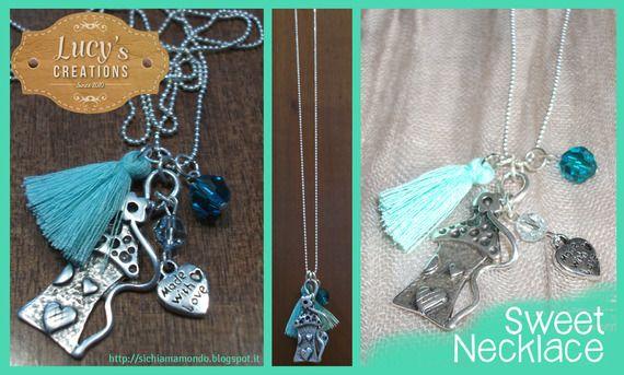 Collana romantica con ciondoli azzurro Tiffany