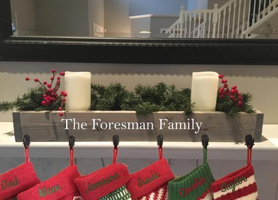 rustic Christmas decor red farmhouse decor mantle stocking holder stocking hanger reclaimed wood family stocking holder
