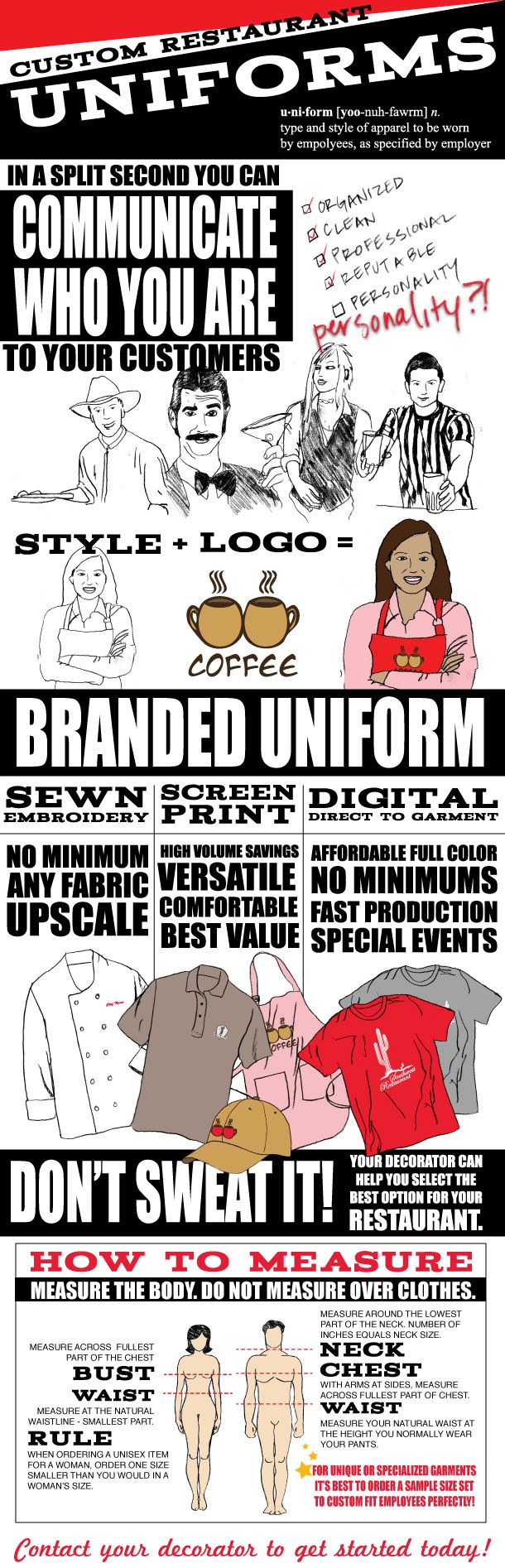Custom Restaurant Uniforms    Purchasing custom uniforms for your restaurant may seem daunting, especially if you don't have experience. You may not know where to begin. So that's why we created this infographic that shows you just how simple and easy the process can be. Once you're through with the infographic, don't forget to download the FREE 8-step guide to custom restaurant uniforms.