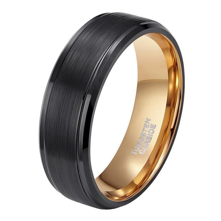 6mm/8mm Mens Black Gold Tungsten Promise Rings - Ships to USA only. Free Shipping
