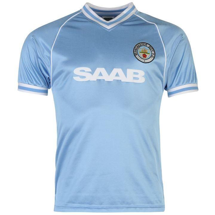 ScoreDraw   Manchester City 1982 Home Football Shirt   Retro Football Shirts
