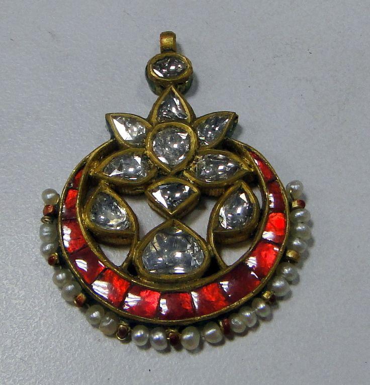 vintage antique Rose cut diamond & pearl pendant - www.tribalexport.com